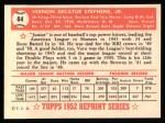 1952 Topps Reprints #84  Vern Stephens  Back Thumbnail