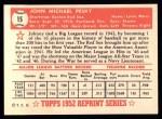 1952 Topps Reprints #15  Johnny Pesky  Back Thumbnail