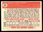 1952 Topps Reprints #204  Ron Northey  Back Thumbnail
