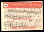 1952 Topps Reprints #301  Bob Porterfield  Back Thumbnail