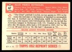 1952 Topps Reprints #67  Allie Reynolds  Back Thumbnail