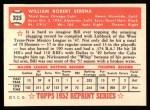 1952 Topps Reprints #325  Bill Serena  Back Thumbnail