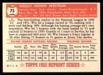 1952 Topps Reprints #75  Wes Westrum  Back Thumbnail