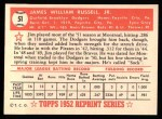 1952 Topps Reprints #51  Jim Russell  Back Thumbnail