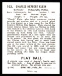 1940 Play Ball Reprints #102  Chuck Klein  Back Thumbnail