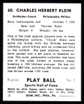 1941 Play Ball Reprints #60  Chuck Klein  Back Thumbnail