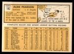 1963 Topps #182  Albie Pearson  Back Thumbnail