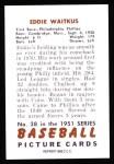 1951 Bowman Reprints #28  Eddie Waitkus  Back Thumbnail
