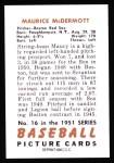 1951 Bowman Reprints #16  Mickey McDermott  Back Thumbnail