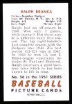 1951 Bowman Reprints #56  Ralph Branca  Back Thumbnail