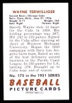 1951 Bowman Reprints #175  Wayne Terwilliger  Back Thumbnail