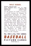 1951 Bowman Reprints #283  Walt Dubiel  Back Thumbnail
