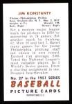 1951 Bowman Reprints #27  Jim Konstanty  Back Thumbnail