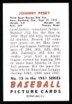 1951 Bowman Reprints #15  Johnny Pesky  Back Thumbnail