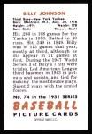 1951 Bowman Reprints #74  Billy Johnson  Back Thumbnail