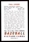 1951 Bowman Reprints #8  Paul Lehner  Back Thumbnail