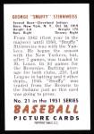 1951 Bowman Reprints #21  Snuffy Stirnweiss  Back Thumbnail
