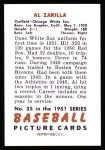1951 Bowman Reprints #35  Al Zarilla  Back Thumbnail
