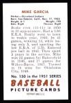 1951 Bowman Reprints #150  Mike Garcia  Back Thumbnail