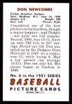 1951 Bowman Reprints #6  Don Newcombe  Back Thumbnail