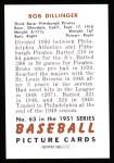 1951 Bowman Reprints #63  Bob Dillinger  Back Thumbnail