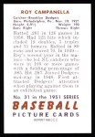 1951 Bowman Reprints #31  Roy Campanella  Back Thumbnail
