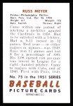 1951 Bowman Reprints #75  Russ Meyer  Back Thumbnail