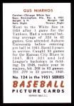 1951 Bowman Reprints #124  Gus Niarhos  Back Thumbnail