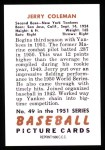 1951 Bowman Reprints #49  Jerry Coleman  Back Thumbnail
