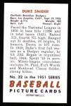 1951 Bowman Reprints #32  Duke Snider  Back Thumbnail