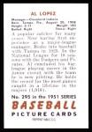 1951 Bowman Reprints #295  Al Lopez  Back Thumbnail