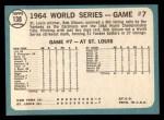 1965 Topps #138   -  Bob Gibson 1964 World Series - Game #7 - Gibson Wins Finale Back Thumbnail