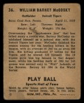 1941 Play Ball #36  Barney McCoskey  Back Thumbnail