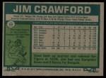 1977 Topps #69  Jim Crawford  Back Thumbnail