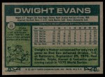 1977 #25  Dwight Evans  Back Thumbnail