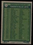 1977 Topps #113   -  Roy Hartsfield / Don Leppert / Bob Miller / Harry Warner / Jackie Moore Blue Jays Leaders Back Thumbnail