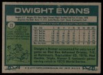 1977 Topps #25  Dwight Evans  Back Thumbnail