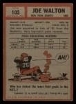 1962 Topps #103   Joe Walton Back Thumbnail