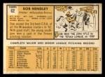 1963 Topps #62   Bob Hendley Back Thumbnail