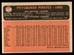 1966 Topps #404 ^COR^  Pirates Team Back Thumbnail