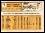 1963 Topps #113 UER  -  Don Landrum / Ron Santo Don Landrum's Card with Ron Santo's Picture Back Thumbnail