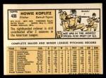 1963 Topps #406  Howie Koplitz  Back Thumbnail