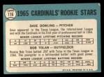 1965 Topps #116   -  Dave Dowling / Bobby Tolan Cardinals Rookies Back Thumbnail