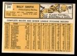1963 Topps #241  Billy Smith  Back Thumbnail