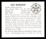 1950 Bowman Reprints #44  Joe Dobson  Back Thumbnail