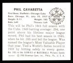 1950 Bowman Reprints #195  Phil Cavarretta  Back Thumbnail