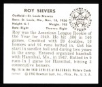 1950 Bowman Reprints #16  Roy Sievers  Back Thumbnail