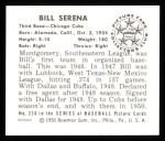 1950 Bowman Reprints #230  Bill Serena  Back Thumbnail