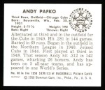 1950 Bowman Reprints #60  Andy Pafko  Back Thumbnail