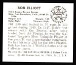 1950 Bowman Reprints #20  Bob Elliott  Back Thumbnail